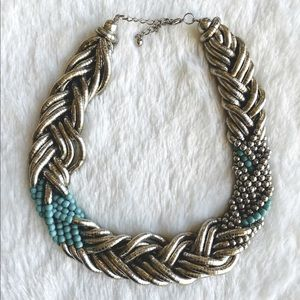 VINTAGE NECKLACE CHUNKY TWISTED SILVER BLU…